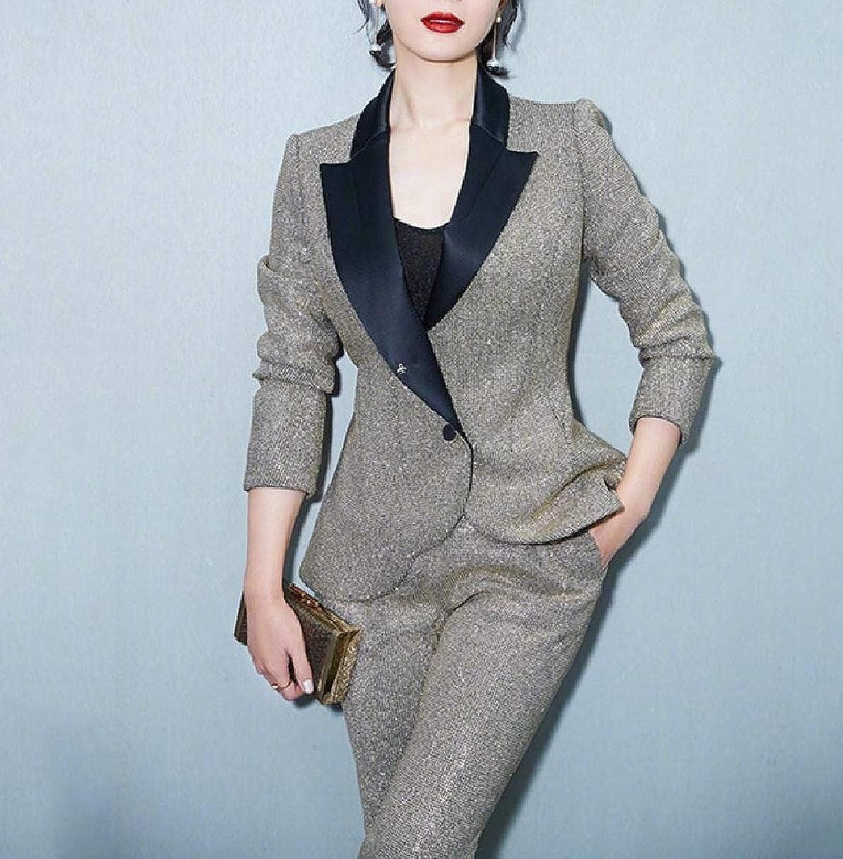 Fseason-Women Shiner Pants Blazer Fashional One Button 2-Piece Suits Set
