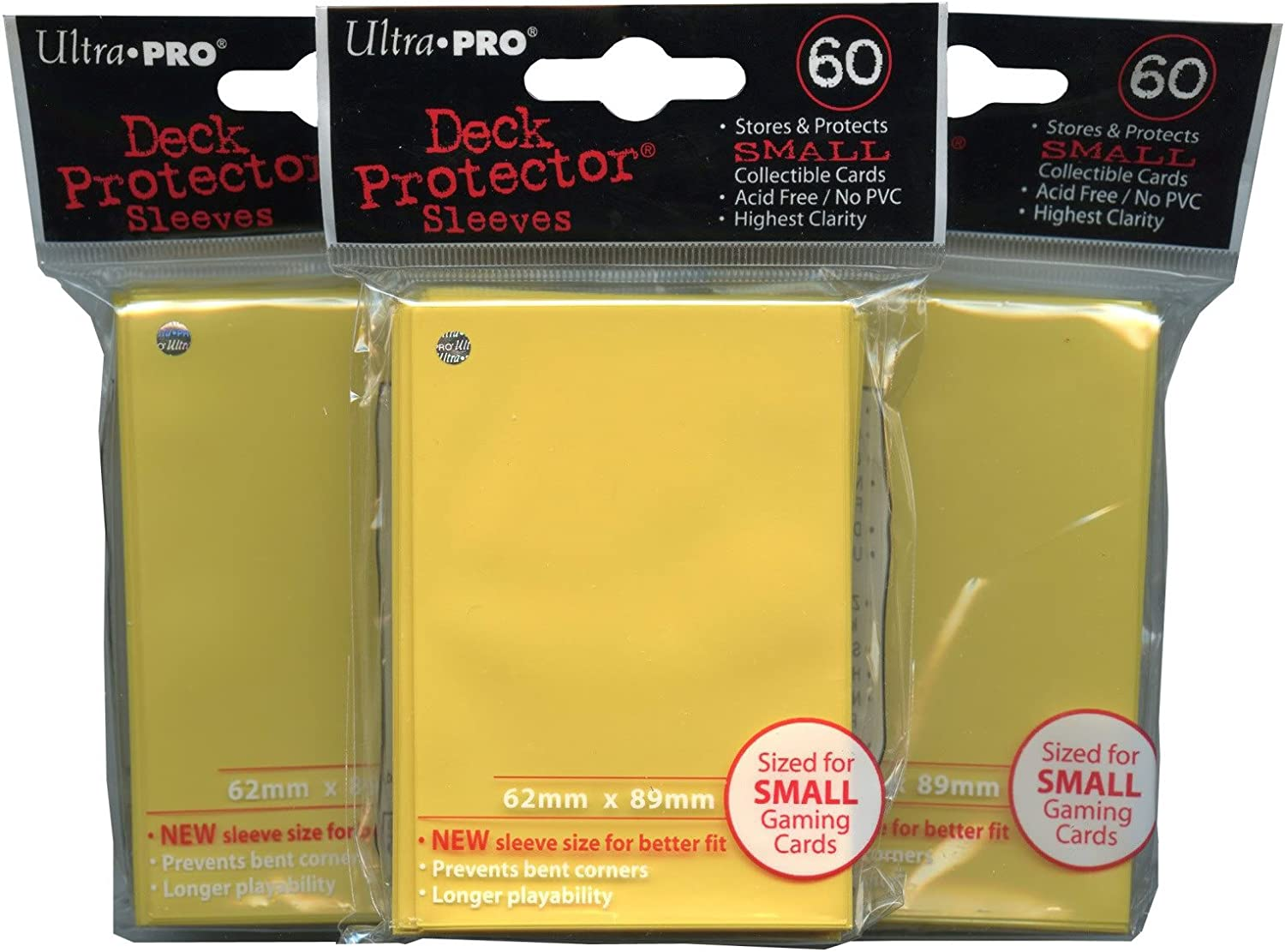 60 Ultra Pro Yellow Deck Protectors Trading Card Gaming Sleeves YuGiOh Size