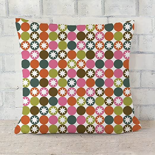 ArtzFolio Stars & Circles Cushion Cover Throw Pillow Satin ...