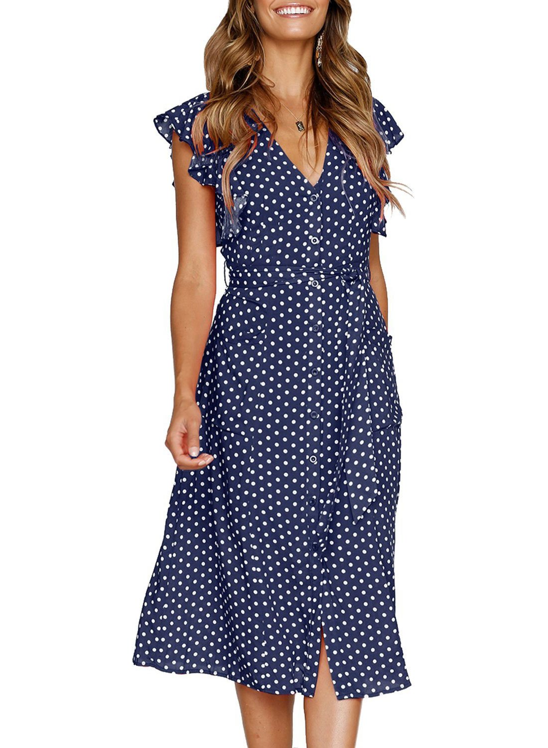 Rainlover Women's Summer Boho Polka Dot Sleeveless V Neck Swing Midi Dress with Pockets (X-Large, 0982 Navy Blue Dot)