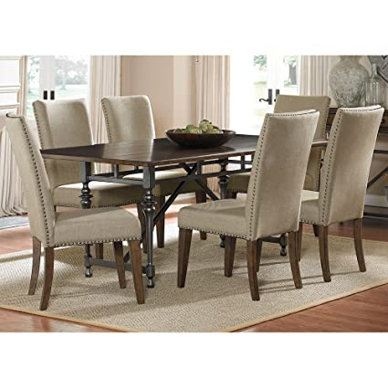 Liberty Furniture Ivy Park Dining 7 Piece Rectangular Table Set, Weathered  Honey U0026 Silver Pewter