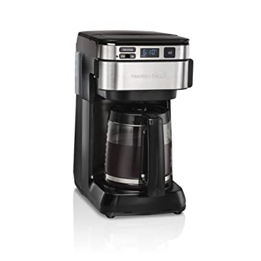 Hamilton Beach 46310 Programmable Coffee Maker, 12 Cups, Front Access Easy Fill, Pause & Serve, 3 Brewing Options, Black