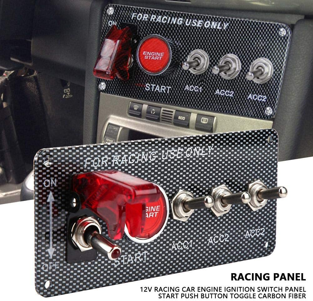 12V Racing Car Engine Ignition Switch Panel Start Push Button Toggle Carbon Fiber EBTOOLS Ignition Switch Panel