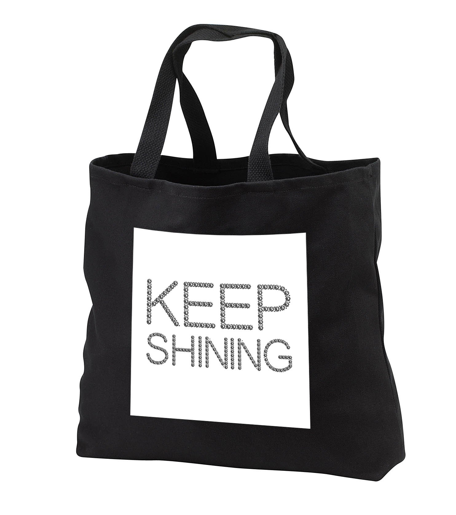 Alexis Design - Typography Diamond - Funny fine text Keep Shining. Diamond shaped design. Black on white - Tote Bags - Black Tote Bag 14w x 14h x 3d (tb_286729_1)