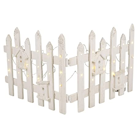 Urbnliving Christmas Tree Skirt Stand Rustic Wooden Snow Fence 30 Led Lights White Set Of 2