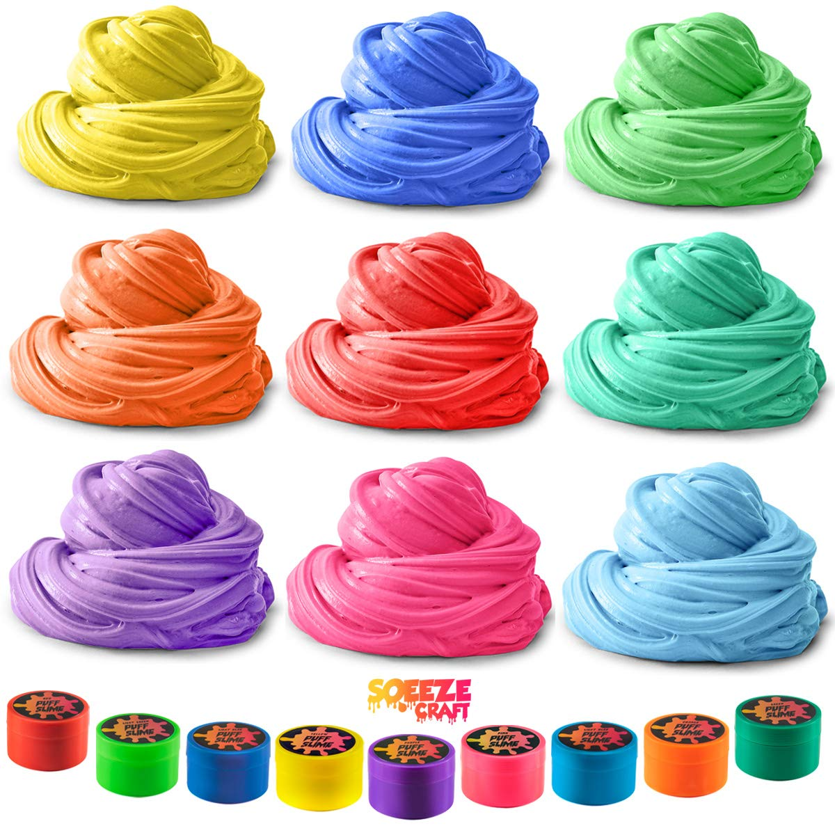 Squeeze Craft Puff Slime - 9 Pack Jumbo Fluffy Mud Putty Assorted Bright Colors - 2 Oz. per Container - for Sensory and Tactile Stimulation, Event Prizes, DIY Projects, Educational Game, Fidget Toy by Squeeze Craft