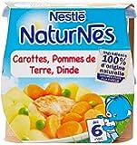 Nestlé Bébé Naturnes Carottes Pommes de Terre Dinde - Plat Complet dès 6 Mois - 2 x 200g - Lot de 4