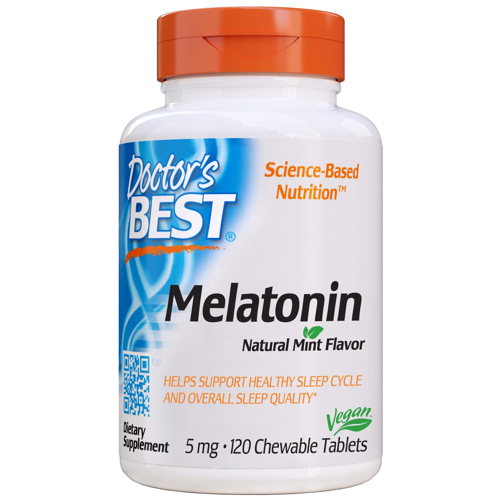 Doctor's Best Melatonin, Helps Promote Healthy Sleep, Jet-Lag, Brain Health & Cognitive Function, Non-GMO, Vegan, Gluten Free, 5 Mg, 120 Chewable Tablets
