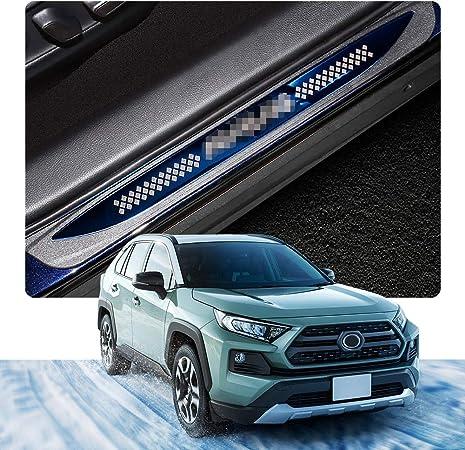 Imagen deYEE PIN - Listones de umbral de acero inoxidable para RAV4 2019, protector de umbral de puerta de pedal, 4 unidades
