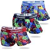 Channo Men's Floral Underwear,Colorful Printed Cotton Boxer Briefs,3 Pack