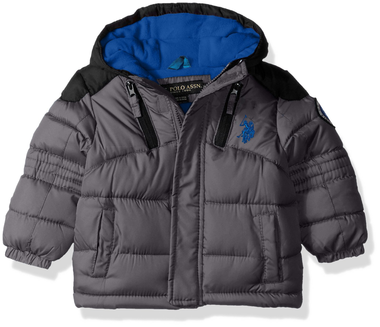 US Polo Association Baby Boys' Outerwear Jacket (More Styles Available), UC07-Charcoal/Black, 24M by U.S. Polo Assn.