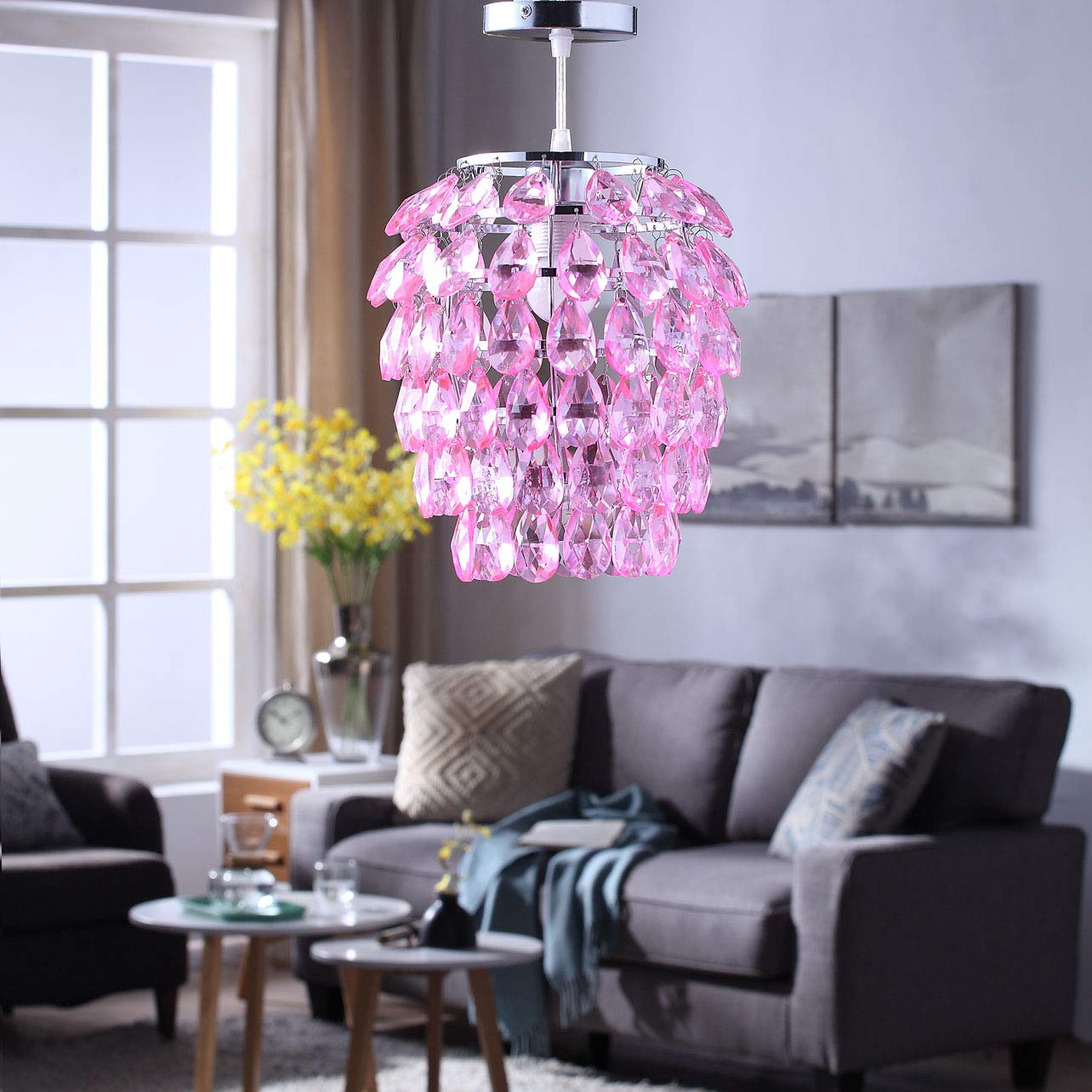 Topotdor Crystal Chandelier, Chrome Flush Mount Ceiling Light Fixture with Raindrop Crystals, Modern Ceiling Lighting for Hallway, Bedroom, Living Room, Kitchen Light Pink