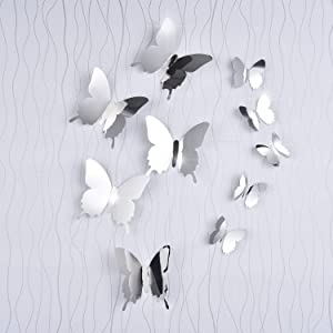 BBTO 36 Pieces DIY Mirror Butterfly Combination 3D Mirror Wall Stickers Home Decoration(Butterfly)