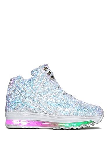 1bd74007 Qozmo Aiire Glitter White Sneaker Med High Top Street Wear Punk Rock (US 12)