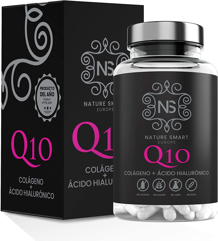 Colágeno + Ácido Hialurónico + Coencima Q10, Nature Smart | Vitamina C | Aporta Firmeza | Piel Radiante | 90 Cápsulas | Alérgenos : Contiene Pescado