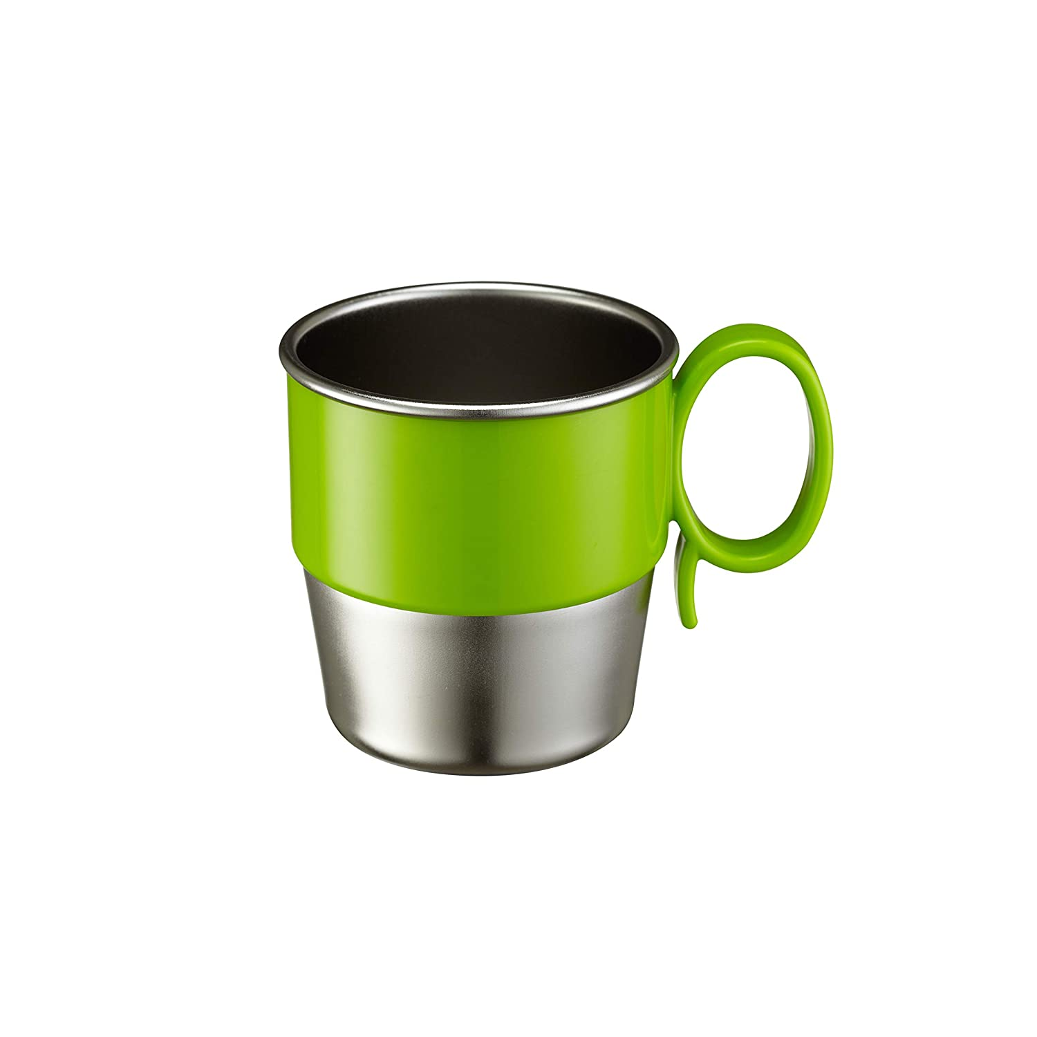 Innobaby Din Din Smart Stainless Steel Cup (9 oz) with Handle for Babies, Toddlers and Kids. BPA Free, Green