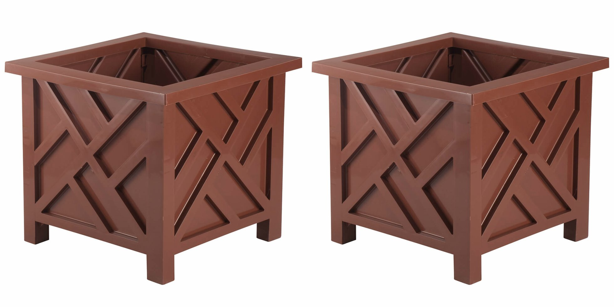 Classic Outdoor Set of 2 - Chippendale Flower Pot Planters - 15'' Square x 13'' H - Choose Color (brown)