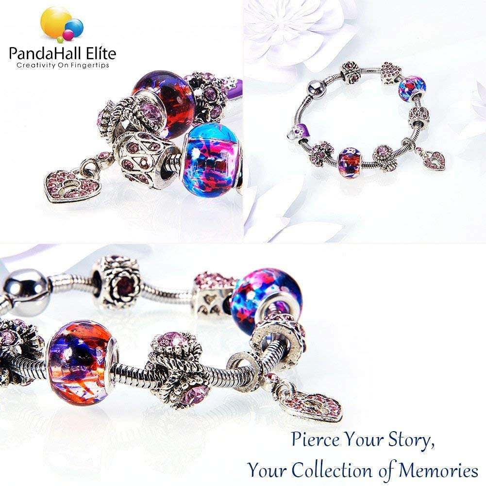 PH PandaHall 1 Box 100 Pieces 10 Style Glass European Beads Large Hole Rondelle Beads with Plating Silver Double Cores