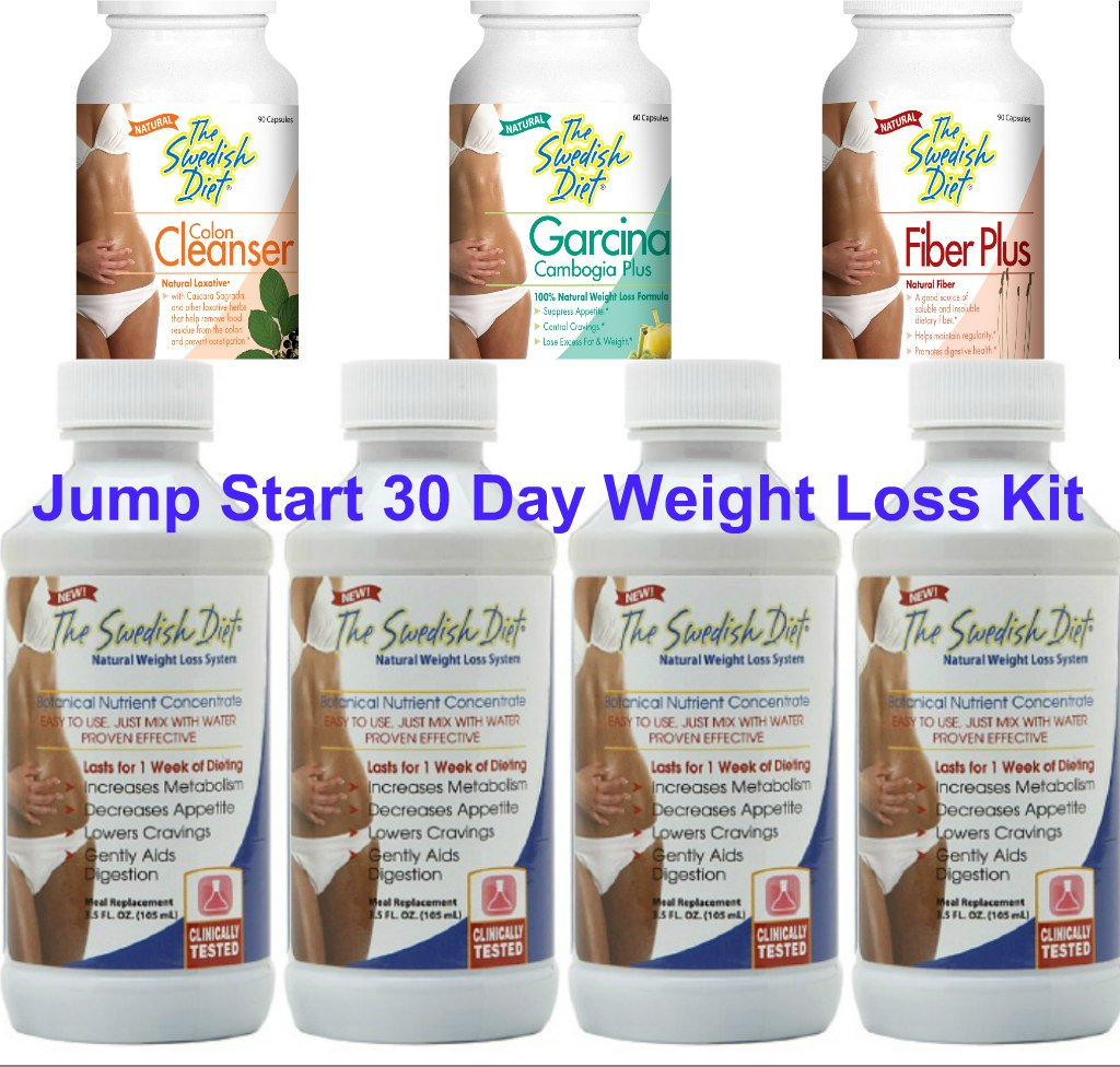 The Swedish Diet 30 Day JUMPSTART Weight Loss Kit with Meal Replacements,  COLON CLEANSER, FIBER Plus and GARCINIA CAMBOGIA