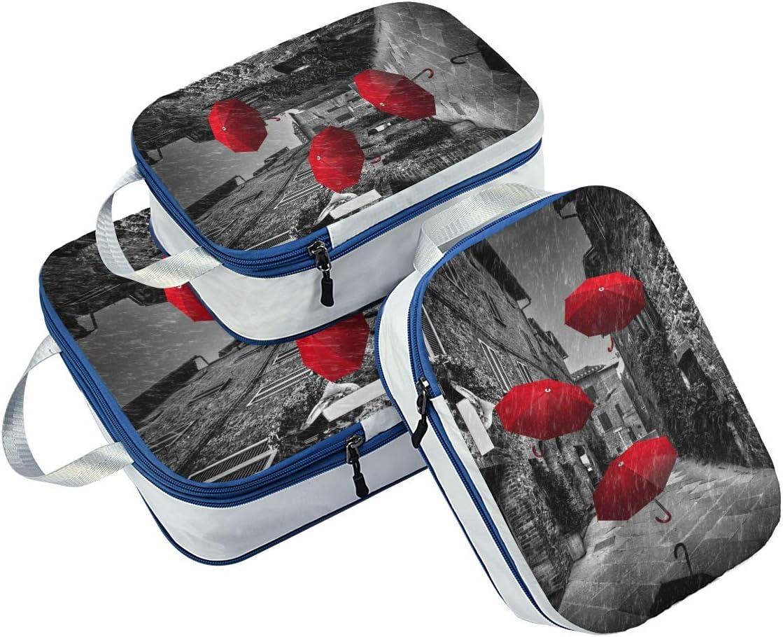 Umbrellas On Dark Narrow 3 Set Packing Cubes,2 Various Sizes Travel Luggage Packing Organizers f