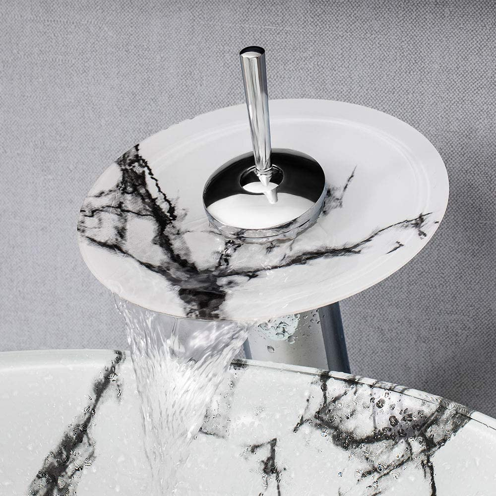 motif imitation marbre pour salle de bains Toilette 42x14.5cm HomeLava Vasque /à Poser Lavabo en verre tremp/é rond avec robinet cascade