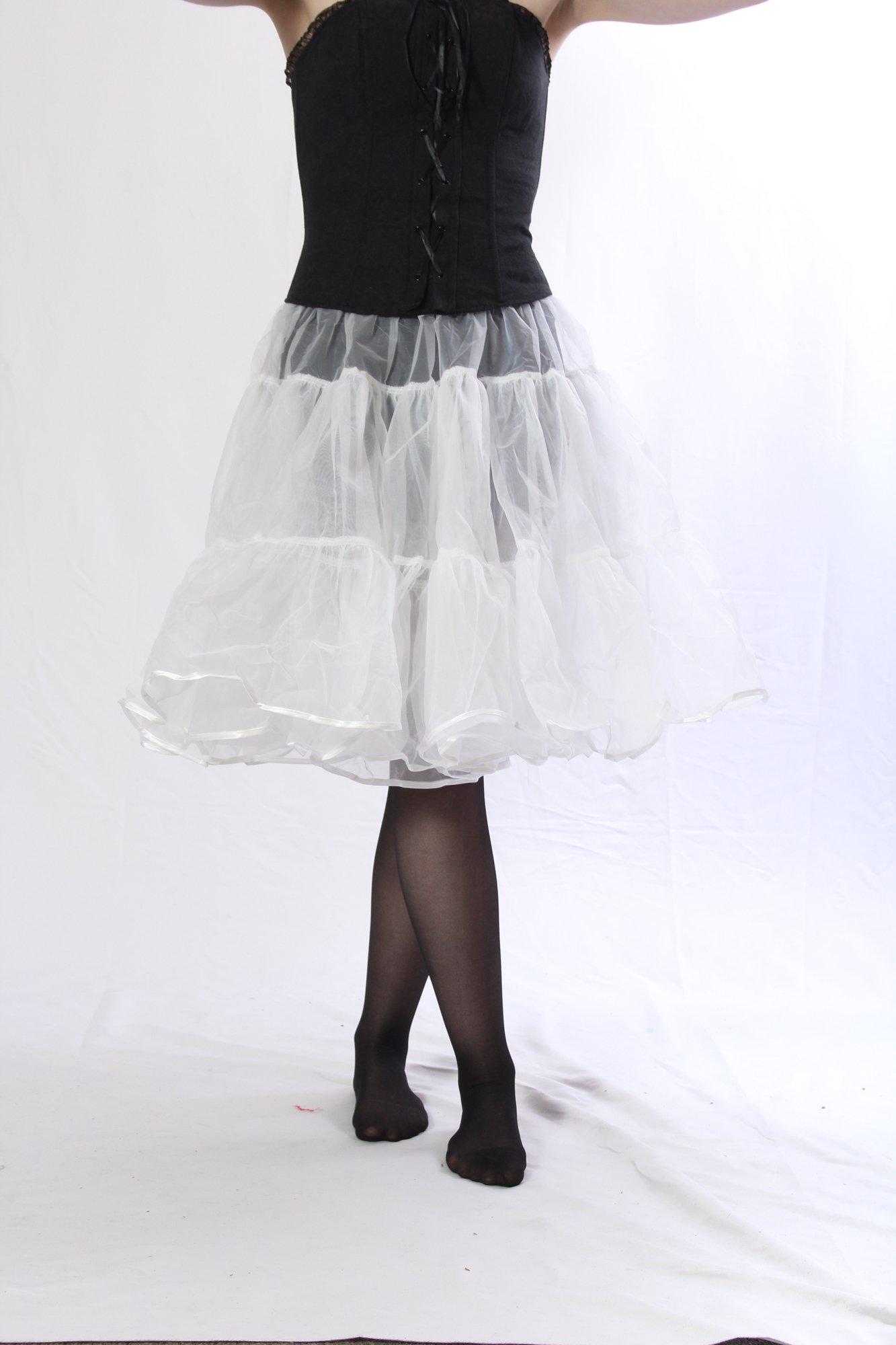 Petticoat Crinoline. Perfect Petticoat Skirt for Vintage Dresses, Petticoat Dresses, Poodle Skirts as Rockabilly Adult Tutu Skirt. Tulle Fabric; 22' Length - White Petticoat by BellaSous (Image #4)