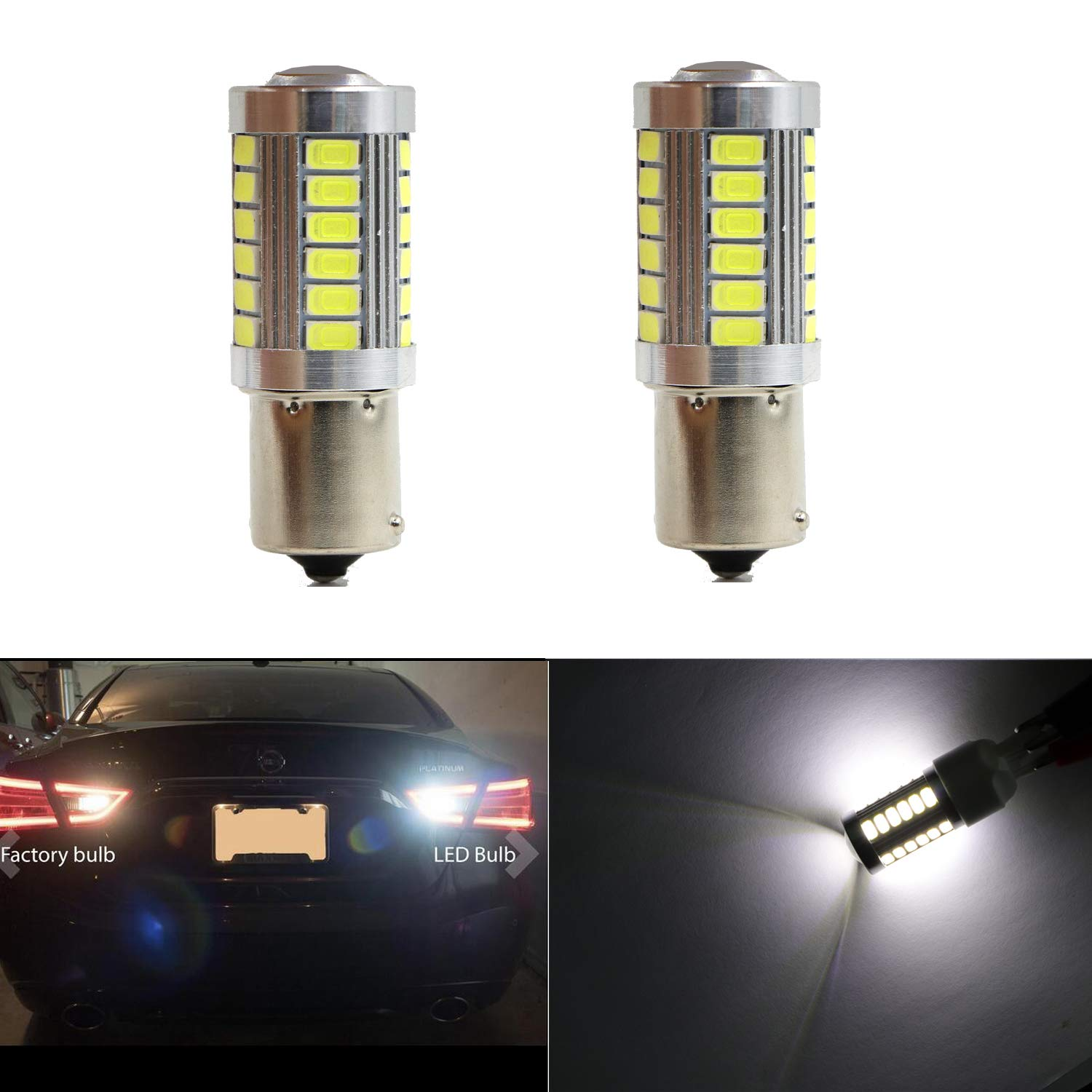 7443 7440 7441 7444 992 Reverse Light Bulbs Map Light 33pcs 5630SMD LED Brake Bulb Lights Back Up Lights (Set of 2) Henkeyi