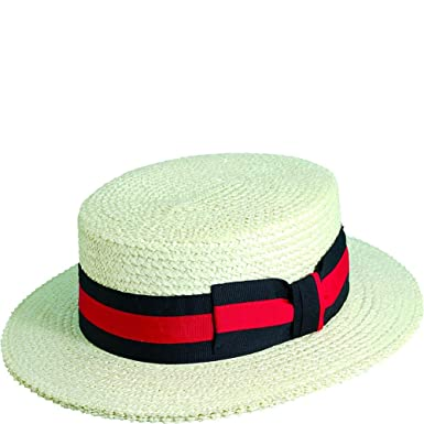 7ff94ce0dfb70 Scala Men s Dress Straw 1 Piece 10 11Mm Laichow Braid Boater Hat at Amazon  Men s Clothing store