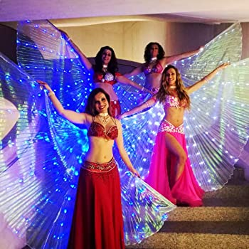 58 inch Rainbow Belly Dance Isis Wings Costumes Dancing Accessories