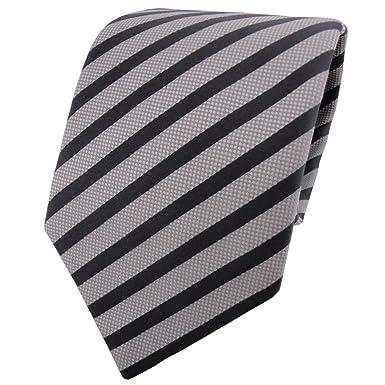 TigerTie - Corbata - gris plata antracita rayas: Amazon.es: Ropa y ...