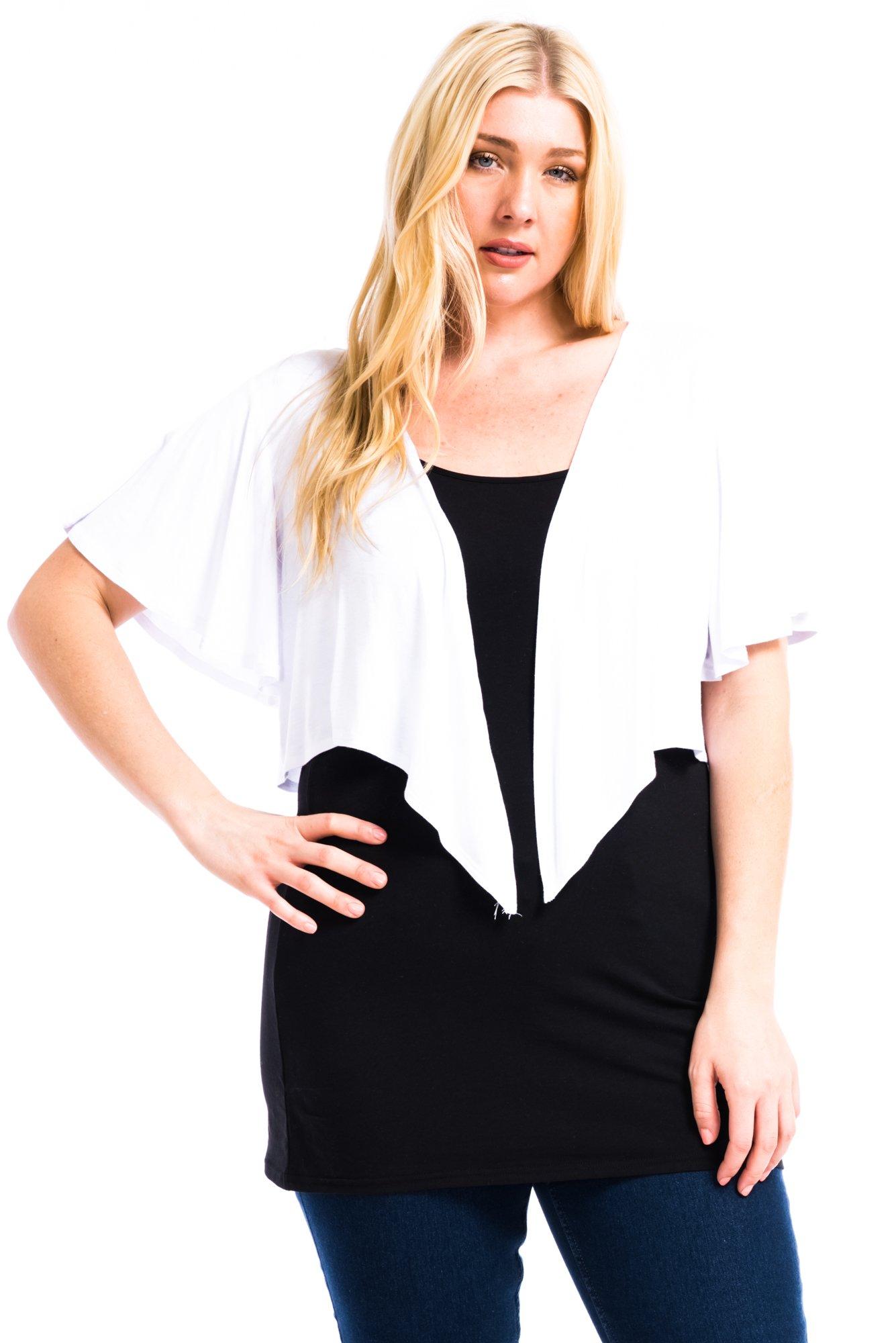 Modern Kiwi Cascading Short Sleeve Bolero Cardigan White 3X