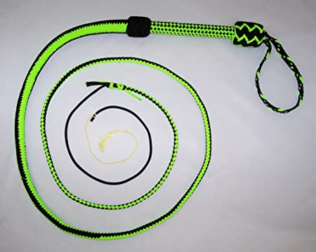 SKU# NY64 Nylon 10 Foot Long 16 Plait White and Blue Well-Weighted Shot Loaded Bullwhip Whips Bull Whip