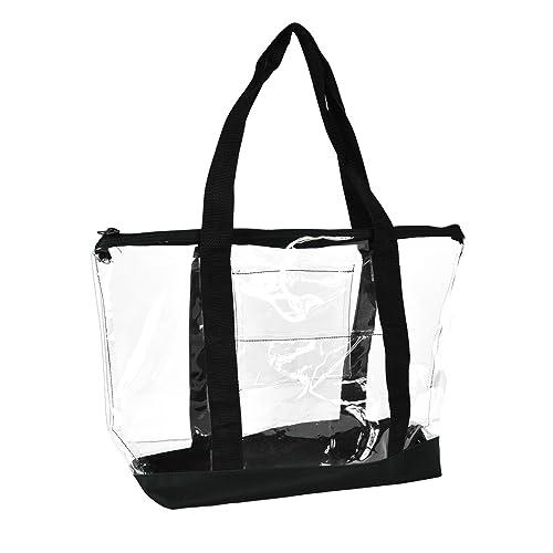 DALIX Clear Shopping Bag Security Work Tote Shoulder Bag Womens Handbag in  Black Trim de6733c318981