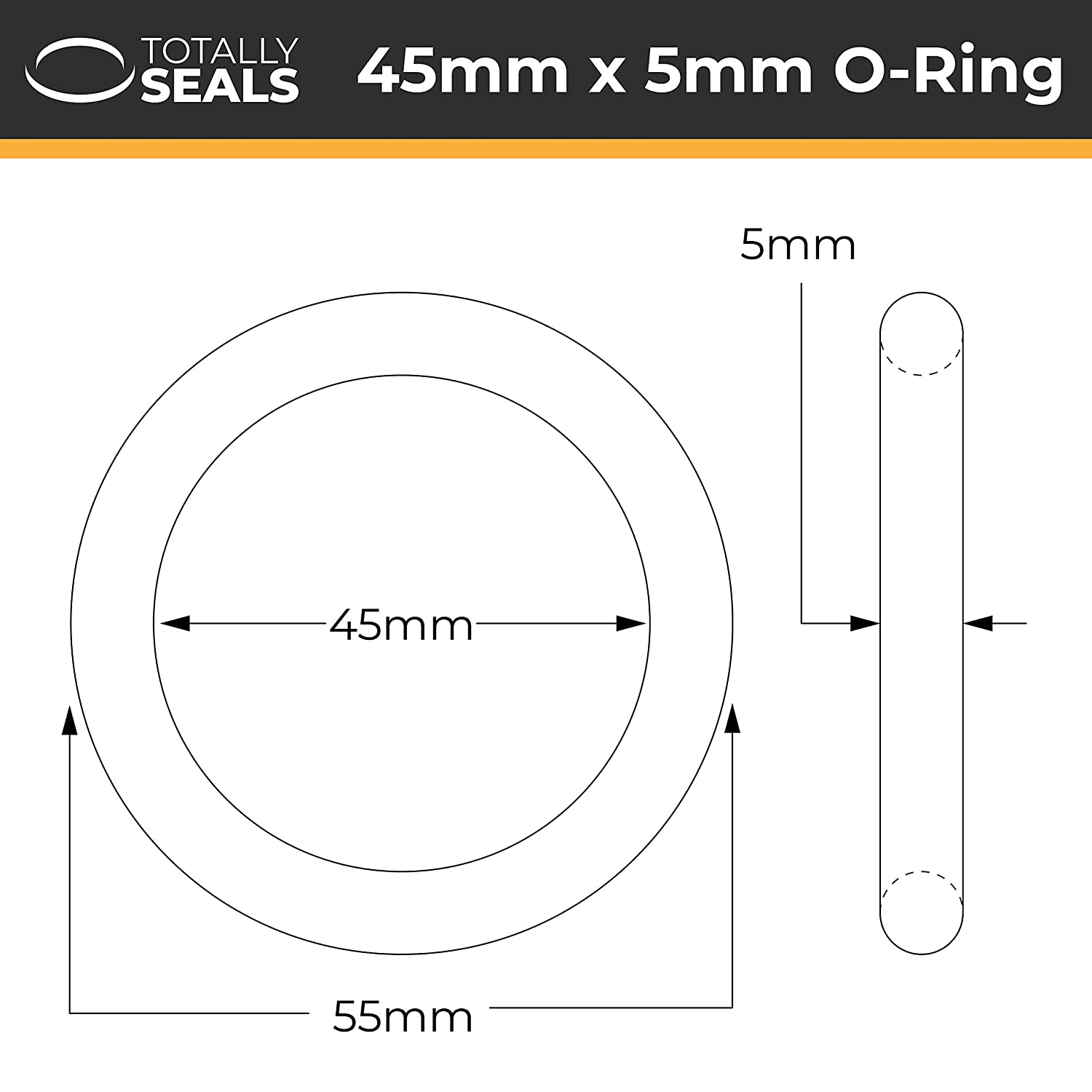55mm x 5mm Nitrile Rubber O-Rings 70A Shore Hardness Pack of 10 65mm OD