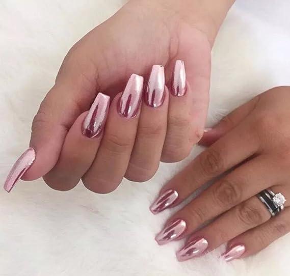 * Envío gratuito * Fino Oro Rosa Color Rosa Polvo de uñas efectos espejo cromado pigmento Magic polvo UK, oro rosa: Amazon.es: Hogar
