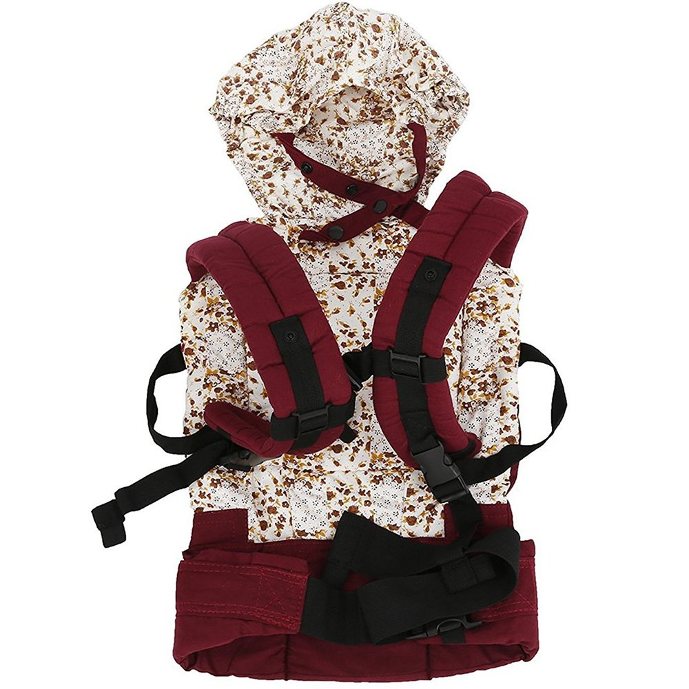 Fostly Safety Front And Back Baby Carrier Adjustable Backpack Seat Infant Backpack Wrap Harness With Detachable Hood For Newborn Infants Toddlers Red