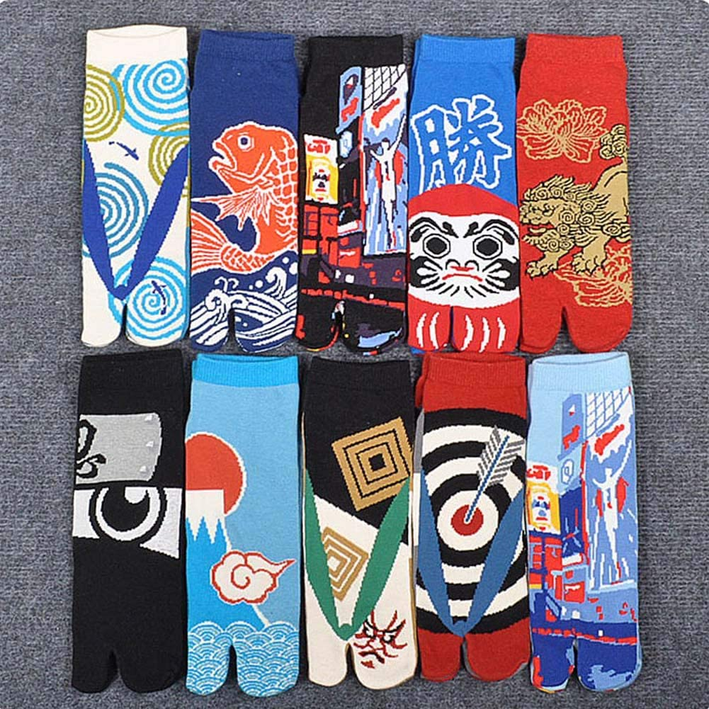 Fancy Pumpkin Kimono estilo japon/és sandalia Split Toe Tabi Ninja Geta Calcetines Geisha Calcetines para hombres E-19