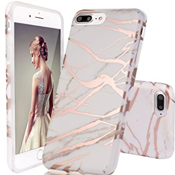 reputable site 7a012 01e6d DOUJIAZ iPhone 8 Plus Case,iPhone 7 Plus Case,Glitter cases, Marble Design  Clear Bumper TPU Soft Case Rubber Silicone Skin Cover for iPhone 8 ...
