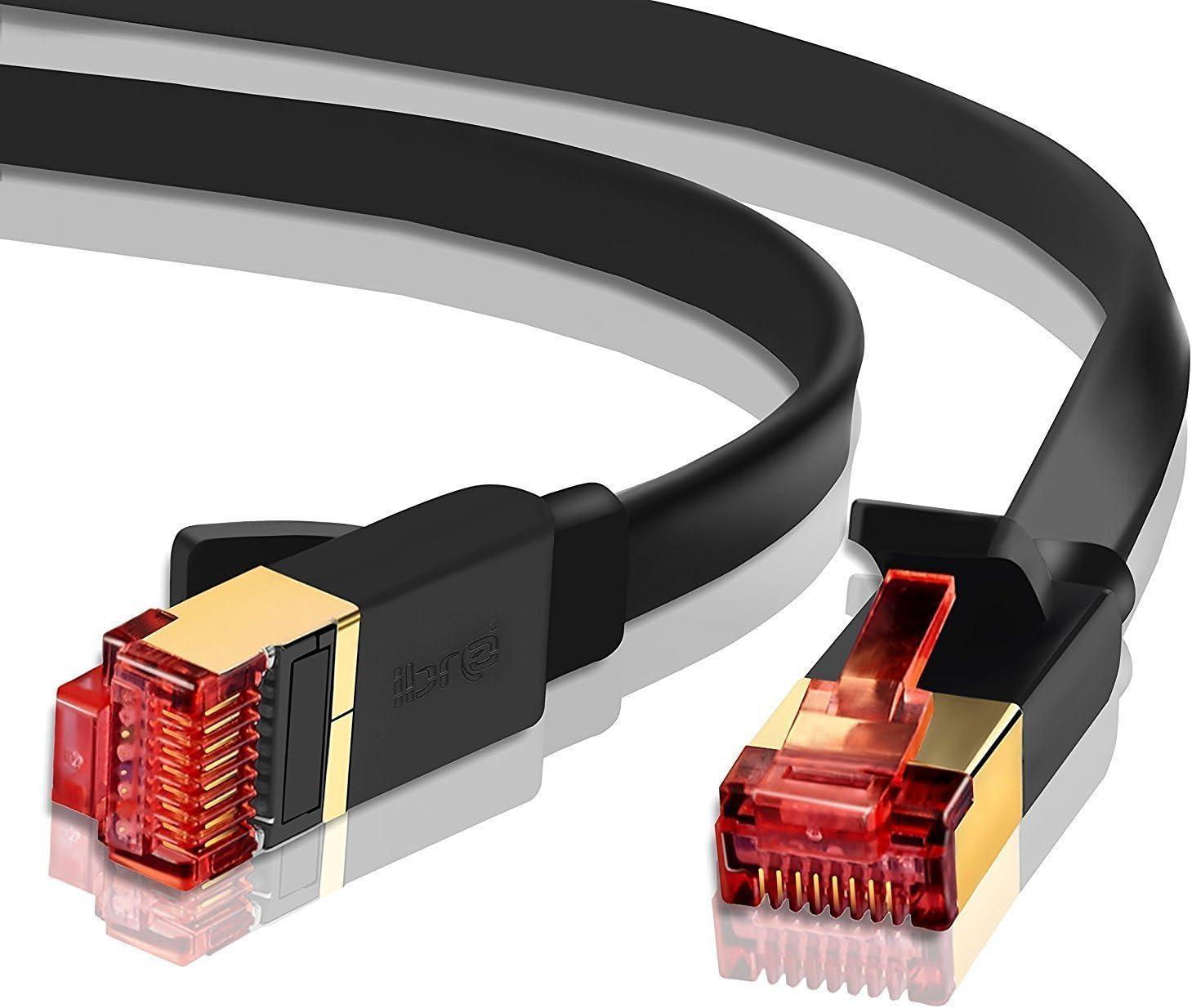RJ45 Redondo Negro 1M SSTP 40Gbps 2000Mhz IBRA Cable de Red LAN Gigabit Ethernet CAT8
