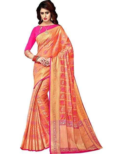 eaa6602949d2e5 Ethnic Diwa New Designer Patola Silk Baby Pink Saree With Fabulous Border  For Women  Amazon.in  Clothing   Accessories