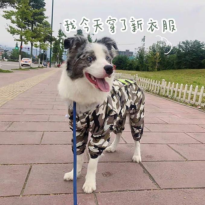 YunNasi Impermeabile per Cani Giacca Cappotto Impermeabile Combinazione a Cappuccio Impermeabile Regolabile Poncho con Riflettente per Cane Cucciolo Gatto 4XL, Camuffamento