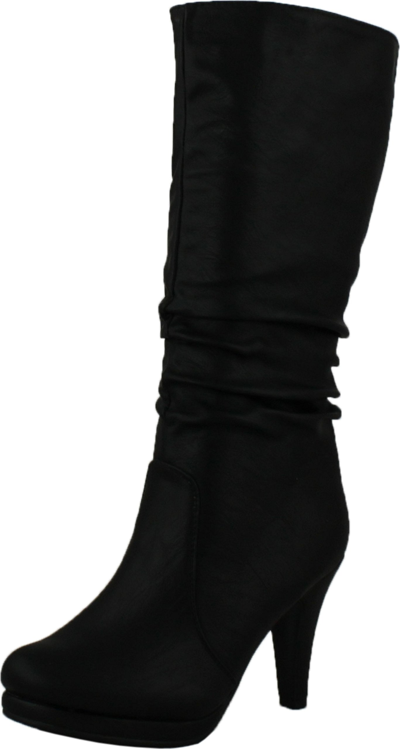 Top Moda Womens Page-43 Mid Calf Round Toe Slouched High Heel Boots, Black 5