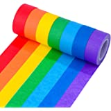 BBTO 7 Pieces 1 Inch Masking Tape Labelling Tape Graphic Art Tape Board Line Tape Roll for Arts Crafts DIY, Rainbow Colors