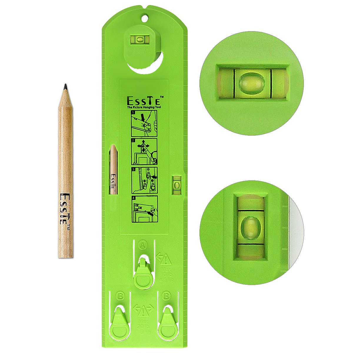 Esste Picture Frame Level Ruler - Suspension measurement marking position tool with a pencil for measuring the suspension and horizontal wall of the roof by Esste (Image #1)