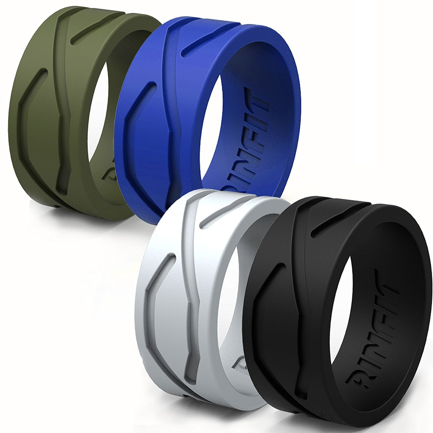 Silicone Wedding Ring/Band for Men - 4 Rings Pack- Designed Medical Grade Silicone Rubber Rings - Black, Green, Blue,Gray - with a Gift Box (9, 4 Pack)