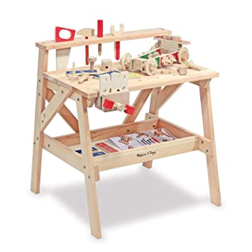 Melissa & Doug Wooden Project Solid Wood Workbench (Pretend Play, Sturdy  Wooden Construction, Storage Shelf, 66 04 cm H × 47 625 cm W x 60 96 cm L)