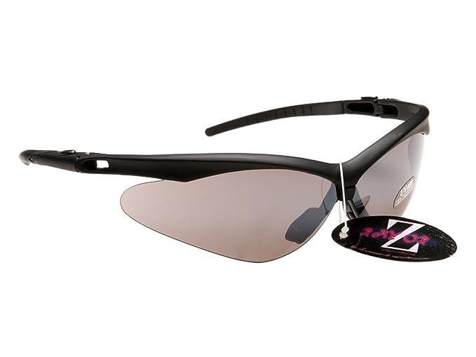 Rayzor Professionelle Leichte UV400 Schwarz Sports Wrap Schifahren Sonnenbrille, Mit einem Smoked Mirrored Blend Lens.
