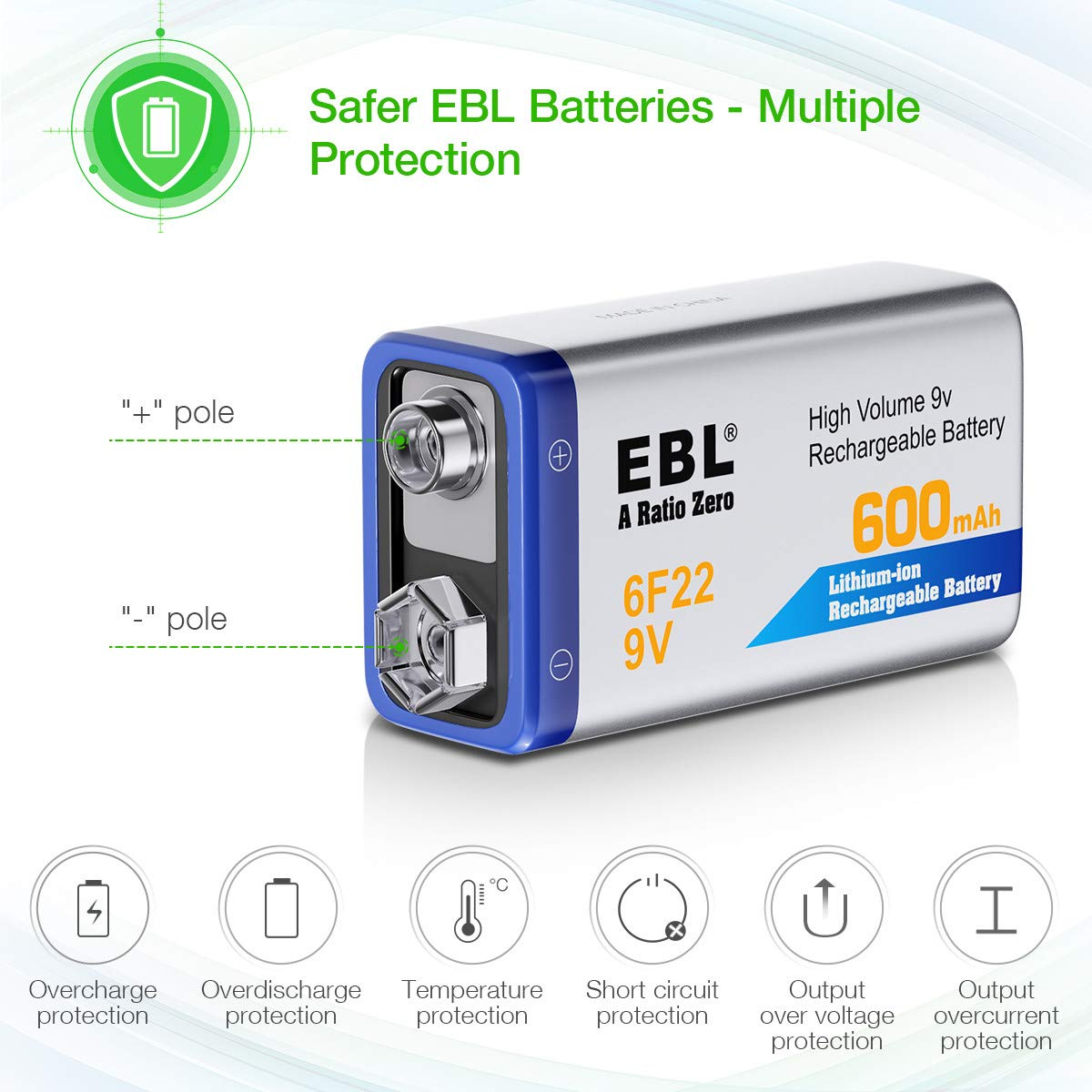 EBL 12-Counts Rechargeable 9V Batteries Li-ion 9V Battery by EBL (Image #2)