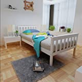 3ft Wooden Single Bed Frame for Adult Kids Child or Children, Solid Pine Wood, White