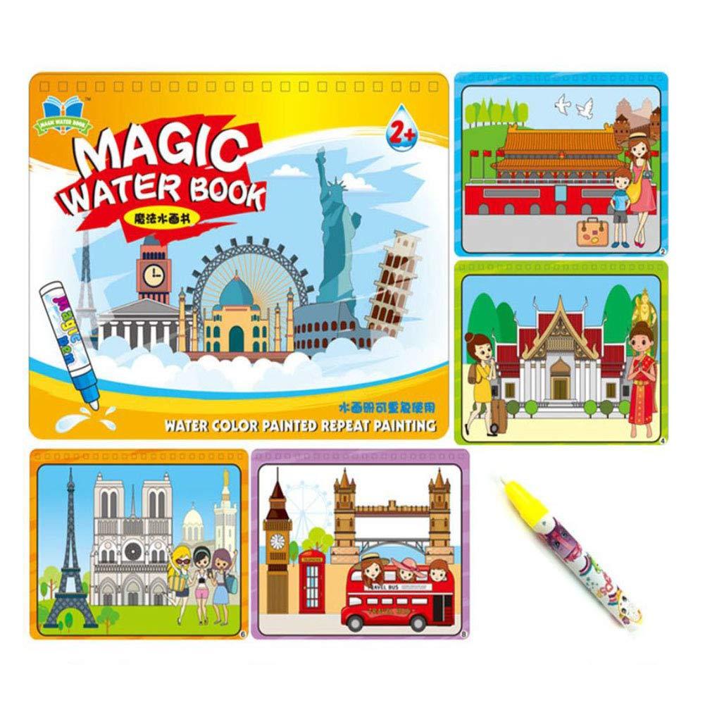 Kinder magische magische Magie des klaren Wassers Linyi Färbung Farbe Malerei Kindergarten Schreiben Tuch Tierhandel Englische Digitale Reise Welt Anzug,Blau Brass